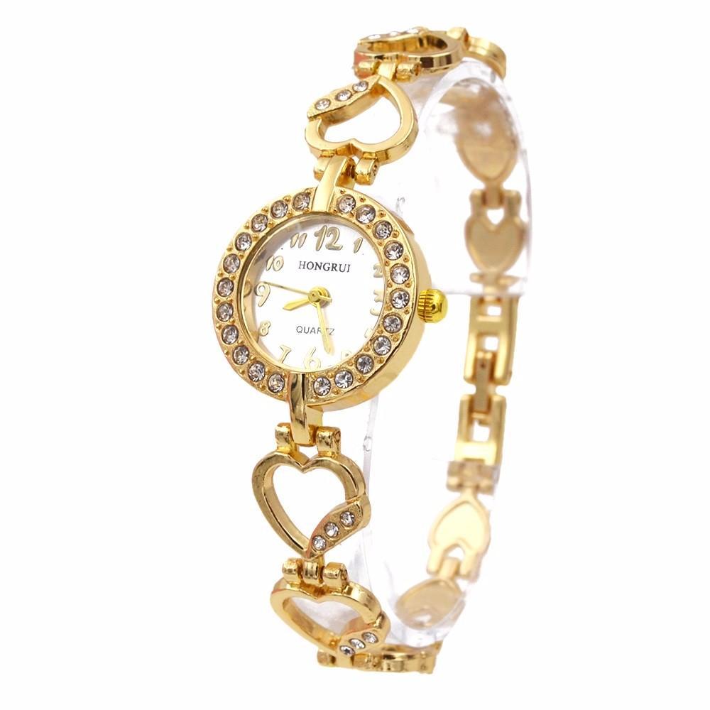 (Có hộp + pin) Đồng hồ lắc tay nữ Hongrui (Đồng hồ lắc tim)