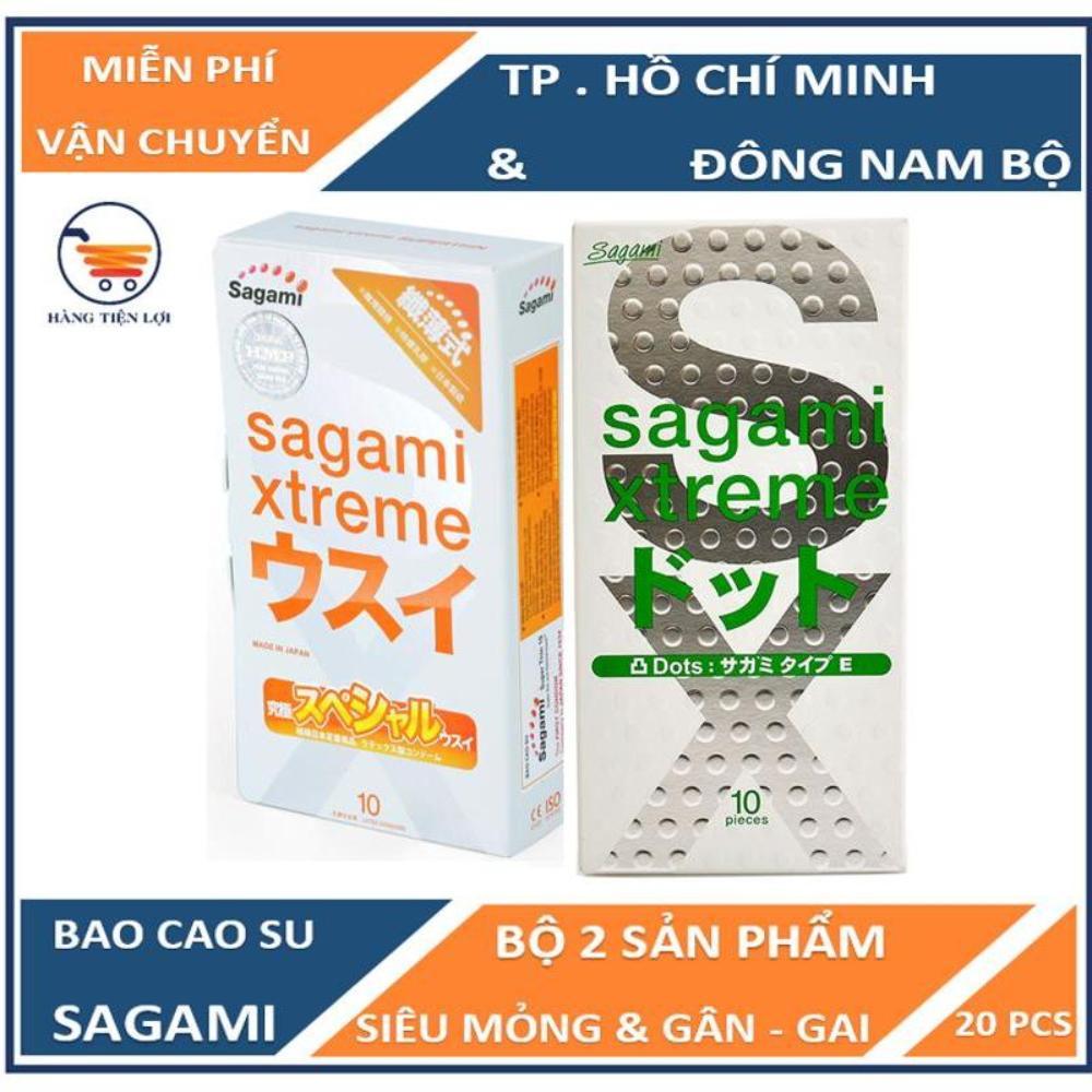Bộ Bao cao su có gân và gai siêu mỏng Sagami Extreme White 10 bao và Bao cao su siêu mỏng co dãn Sagami Xtreme Super Thin 10 bao nhập khẩu