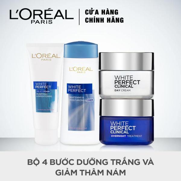 Bộ 4 bước dưỡng trắng và giảm thâm nám LOreal Paris White Perfect Clinical