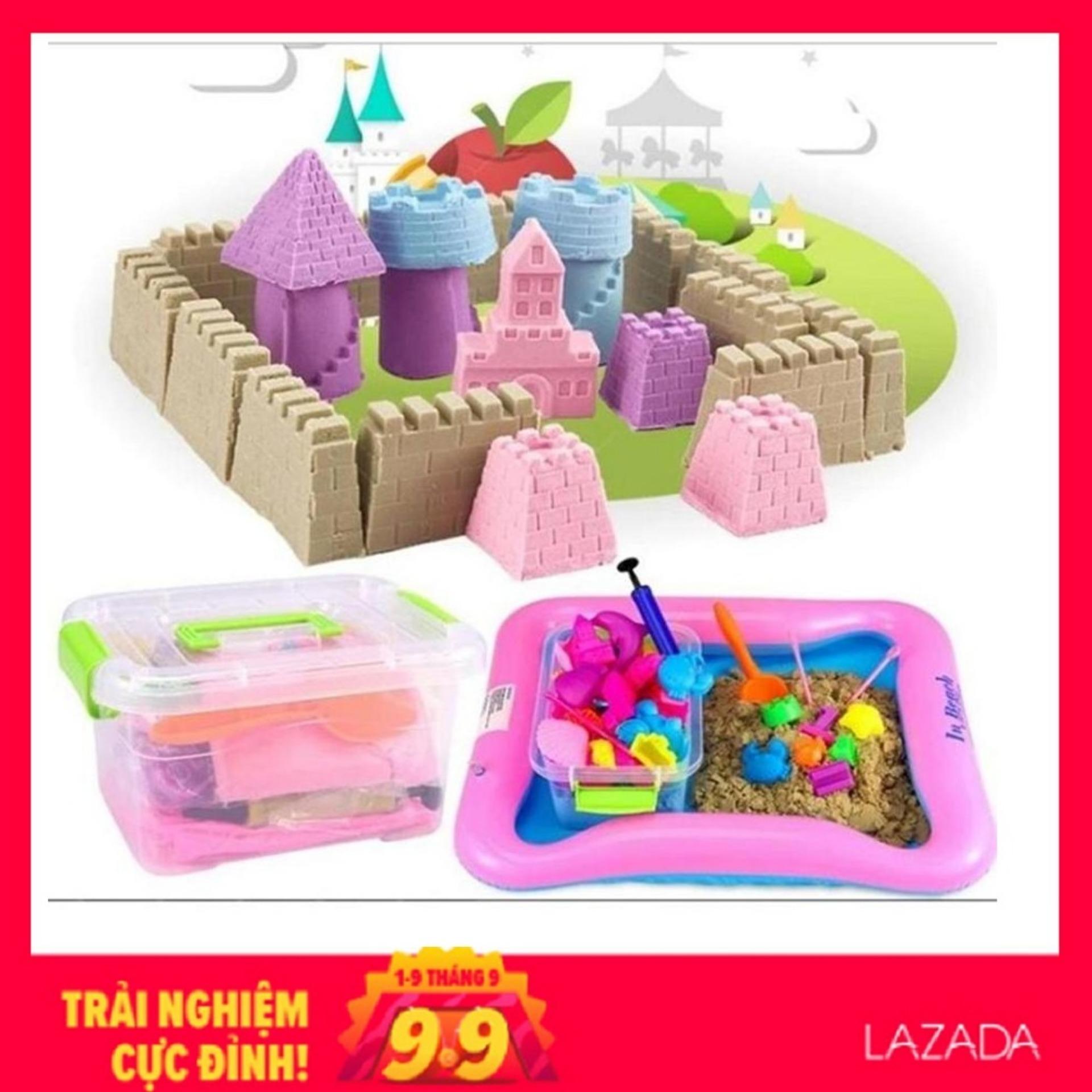 Bộ đồ chơi Cát động lực vi sinh tạo hình LÂU ĐÀI gồm: Hộp nhựa + 0,8kg Cát + Bể hơi + Đủ khuôn voucher mã giảm giá khuyến mãi Nhật Bản