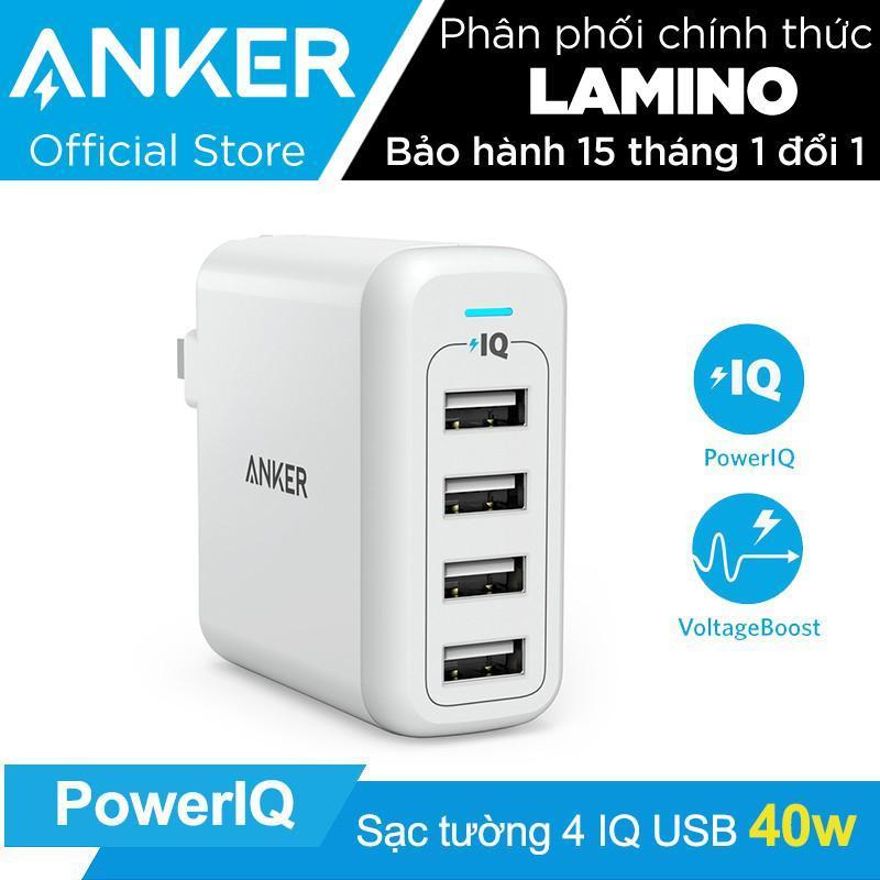 Sạc ANKER PowerPort 4 cổng 40w có PowerIQ (Trắng) – Hãng Phân Phối Chính Thức