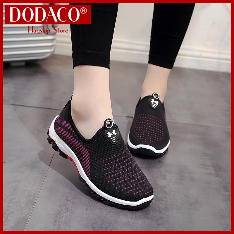 Hình ảnh Giày lười nữ DODACO DDC2025 (Đen Đỏ Tím Xám)