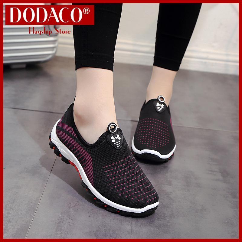 Giày lười nữ DODACO DDC2025 (Đen Đỏ Tím Xám)