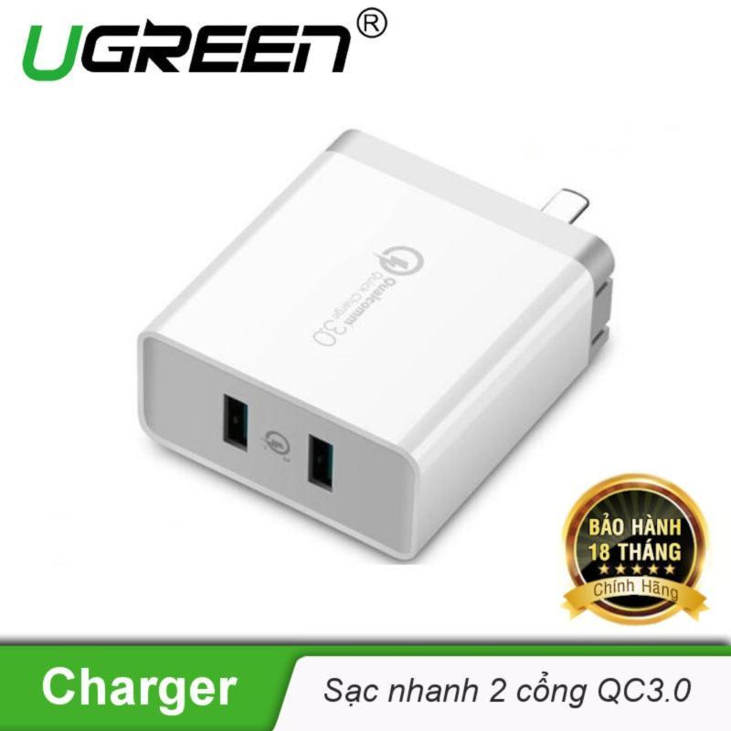 Sạc nhanh 2 cổng tốc độ cao Chuẩn Quick Charge 3.0 UGREEN CD161 - Hãng phân phối chính thức