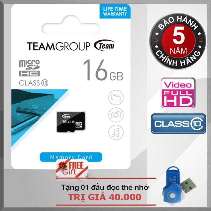 Thẻ nhớ 16GB Class 10 Team MicroSDHC CHÍNH HÃNG + Tặng đầu đọc thẻ nhớ micro PT