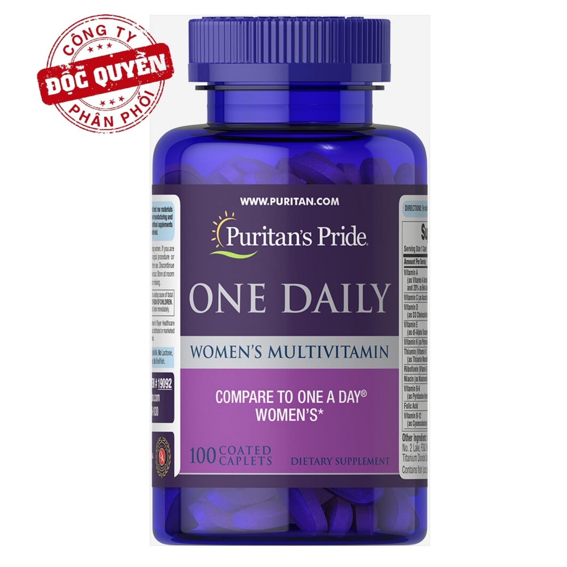 Vitamin tổng hợp cho phụ nữ , tăng cường sức khỏe,hỗ trợ hệ miễn dịch 1 viên/ngày Puritans Pride One Daily Womens Multivitamin 100 viên HSD tháng 4/2022 cao cấp