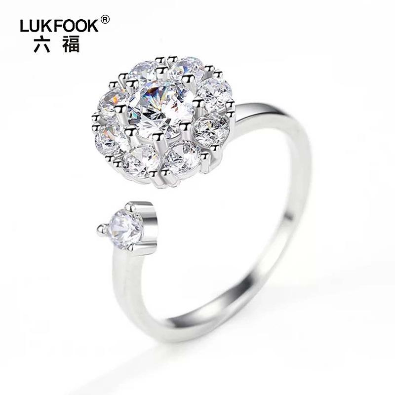 Lukfook 六福 925 Nhẫn bạc xoay lấp lánh