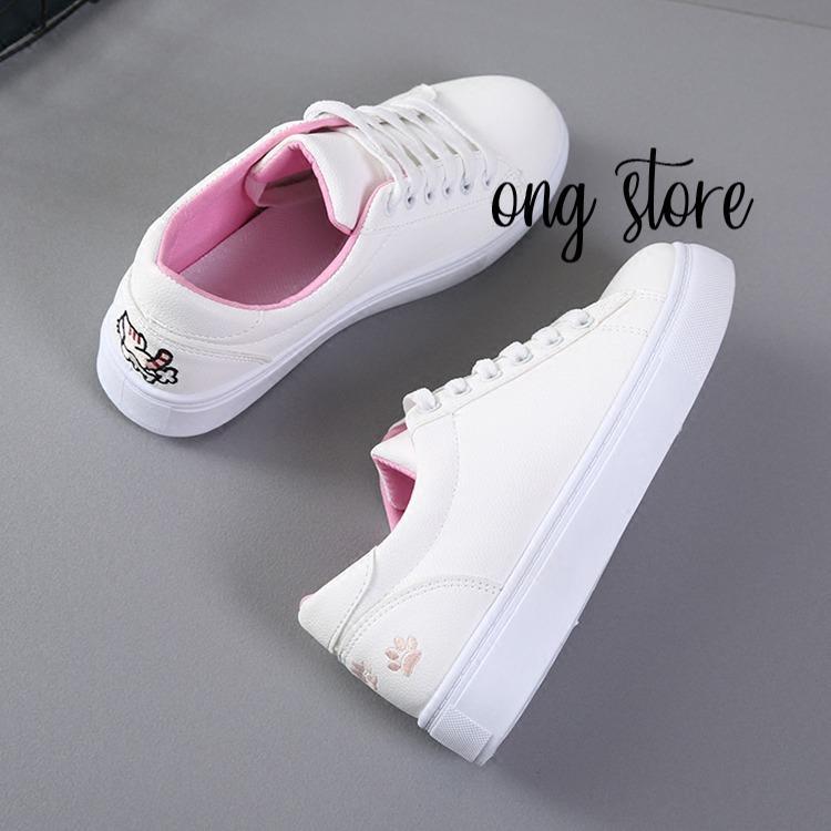 Giày thể thao nữ giày sneaker nữ thêu mèo xinh xắn (mèo hồng)