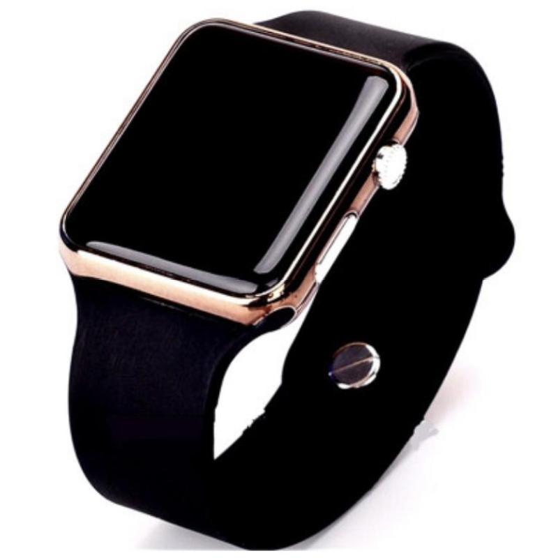 Đồng hồ điện tử thể thao chống nước mặt gương vuông, dây cao su ,Và các loại đồng hồ Kim dây da, Dây thép (Đen)