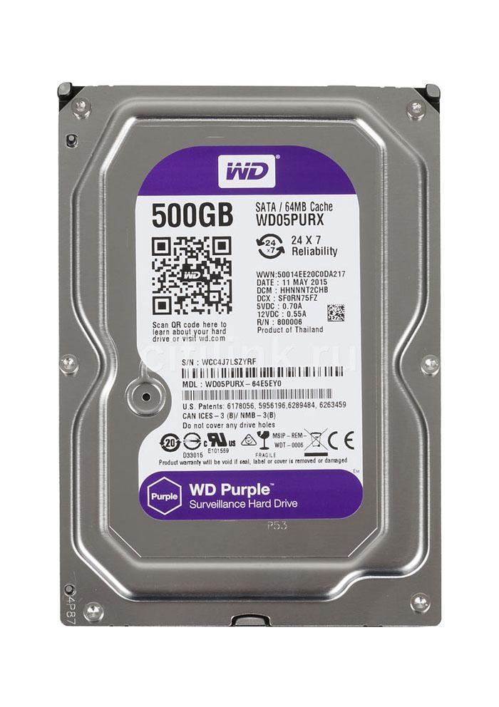Hình ảnh Ổ cứng gắn trong HDD Western Digital Purple 500GB, SATA 3, 64 Cache - Ổ cứng chuyên dụng cho Camera