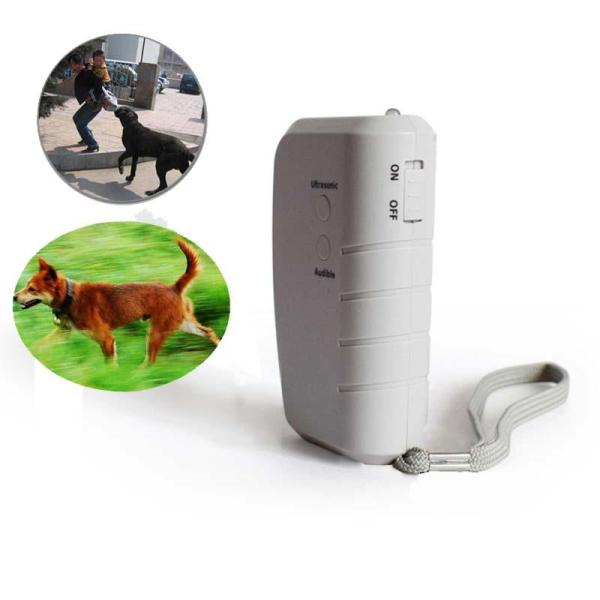Protable Ultrasonic Electronic Animal Repellent With LED Flashlight Travel Walking Cat Dog Bark Stopper Deterrent Tools,White - intl