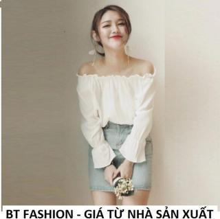 Áo Nữ Kiểu Trễ Vai, Voan , Cổ Tay Xòe Thời Trang Hàn Quốc Mới - BT Fashion (AK03) thumbnail