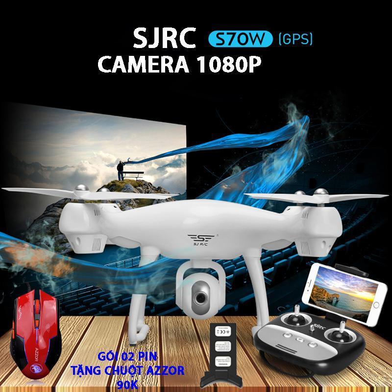[Bộ 2 Pin] Tặng chuột máy tính AZZOR  -Flycam SJRC S70W new 2018 - Camera 1080P, GPS, Tự đi theo chủ, Camera điều chỉnh góc 90 độ