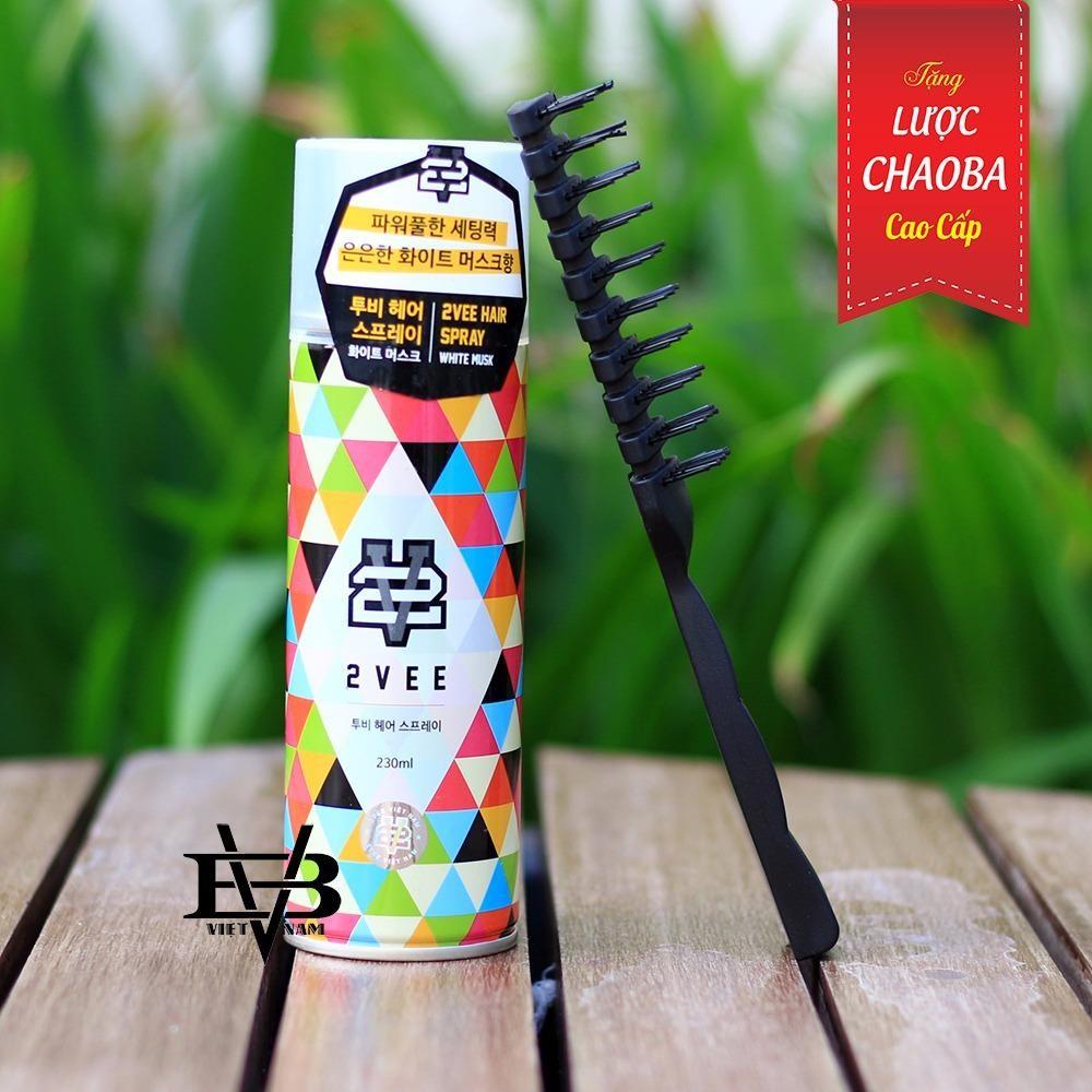 Gom Xịt Toc 2Vee 230Ml Han Quốc Tặng Lược Tạo Kiểu Chaoba Cao Cấp Korean Brand Chiết Khấu 50