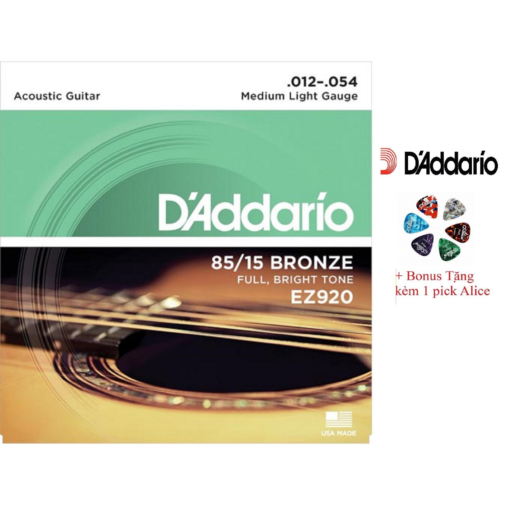 Giá Bán Bộ Hộp 6 Day Đan Guitar Acoustic D Addario Ez920 Cao Cấp Pick Alice Cỡ 12 Nguyên