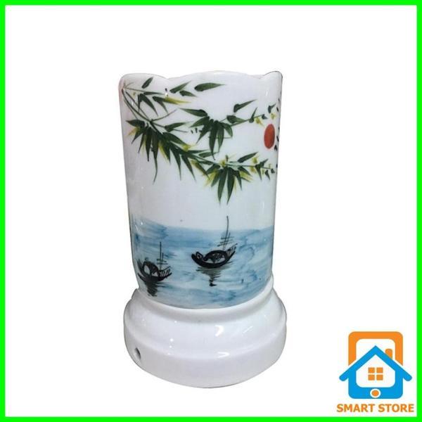 Đèn xông tinh dầu sứ Bát Tràng hình Ống cỡ TO 9 x 16,5cm / Đuổi muỗi Diệt muỗi Đèn trang trí SS33