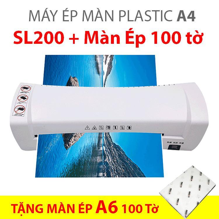 Máy Ép Màn Plastic SL200 Khổ A4 + Màn Ép A6 100 Tờ