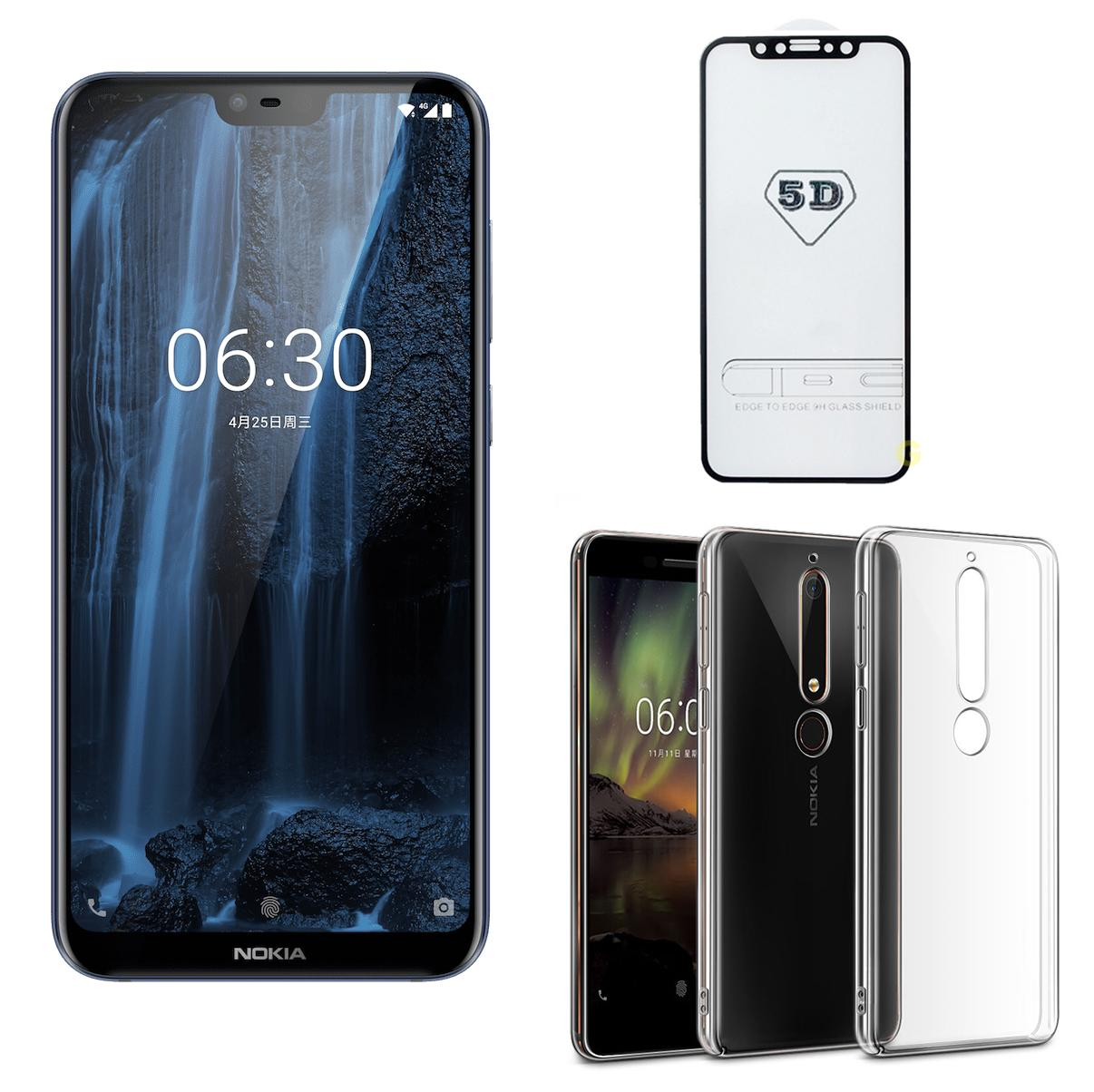Hình ảnh Nokia X6 64GB Ram 4GB (Đen) - ShopOnline24 + Cường lực 5D Full màn + Ốp lưng - Hàng nhập khẩu