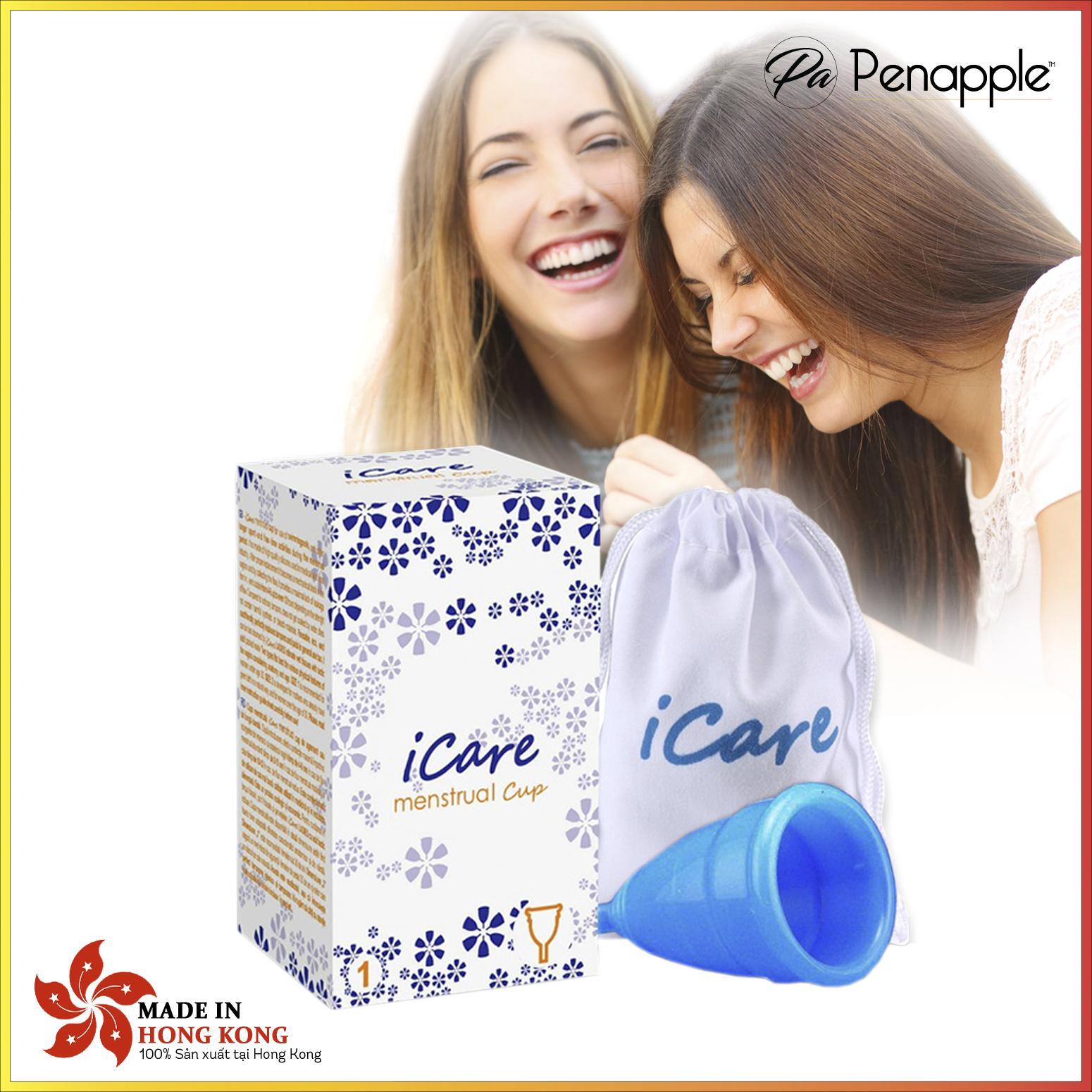 Cốc nguyệt san silicone CAO CẤP thay thế băng vệ sinh và tampon Icare - màu xanh - Thiết kế tại Hàn Quốc KOREA - sản xuất tại Hồng Kông