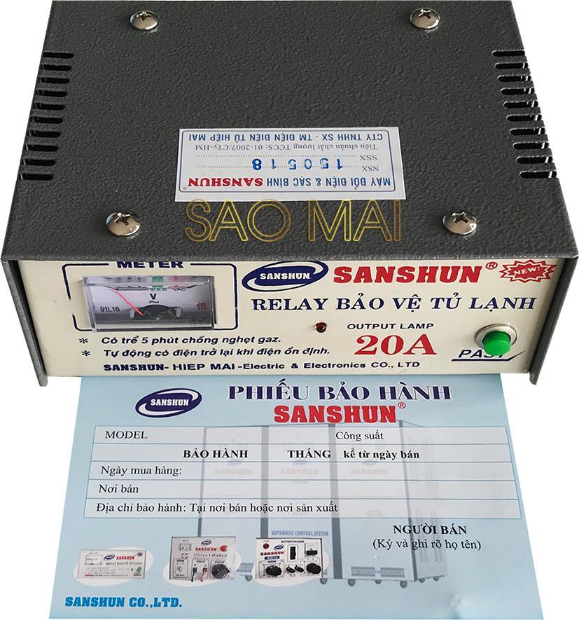 Hình ảnh Relay (Ổn áp) bảo vệ tủ lạnh cao cấp SANSHUN 20A ( xám )