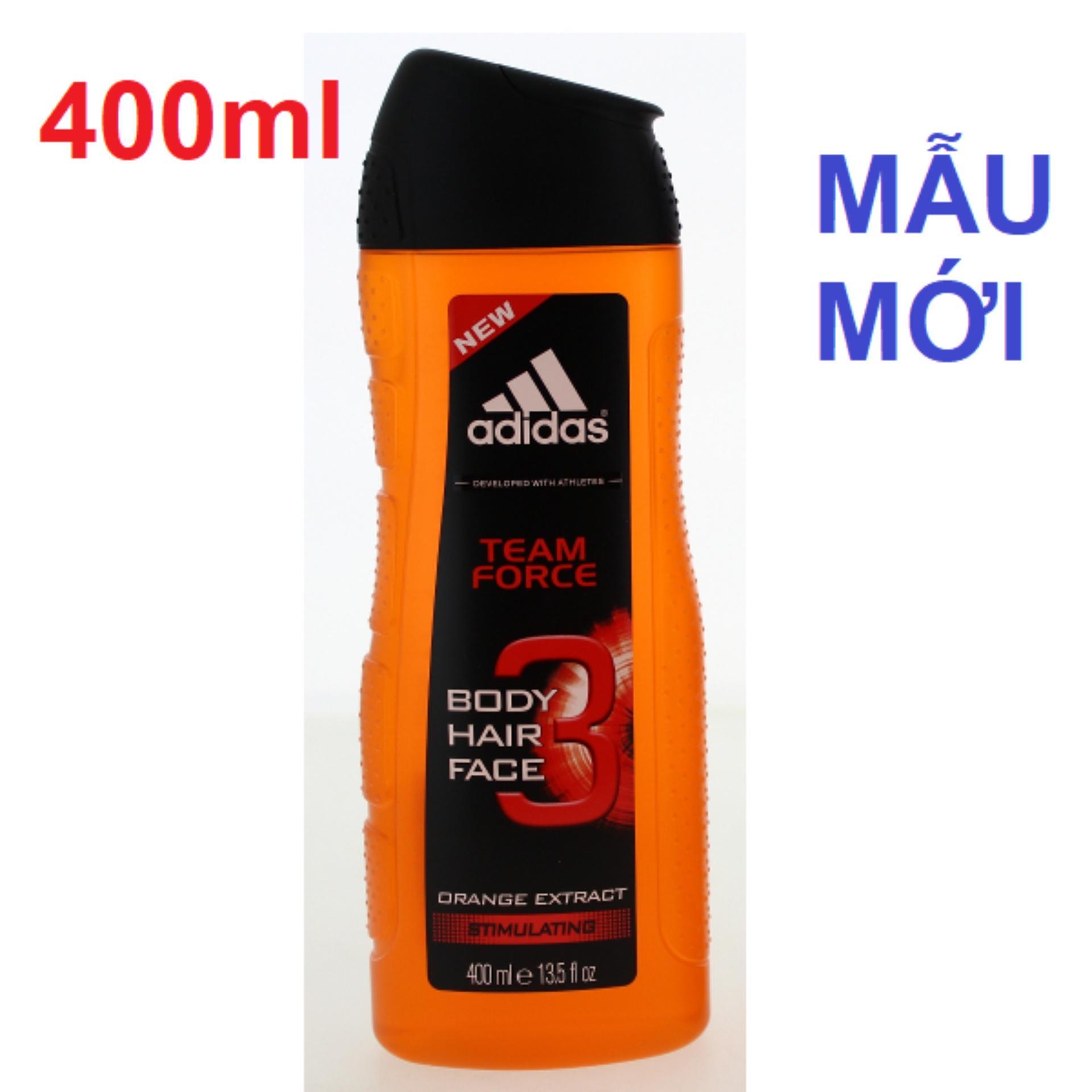 Sữa tắm gội rửa mặt 3 trong 1 cho nam 400ml Adidas 3 in 1 Team Force