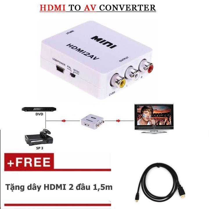 Hình ảnh HDMI to AV Tặng thêm cáp HDMI 1,5m (đen)