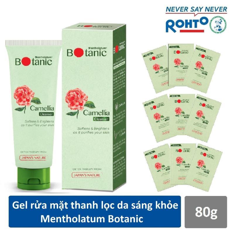 Gel rửa mặt thanh lọc da sáng khỏe Mentholatum Botanic Cleanser 80g + Bộ 3 bước dùng thử thanh lọc da sáng khỏe (Cleanser + Lotion + Essence) nhập khẩu