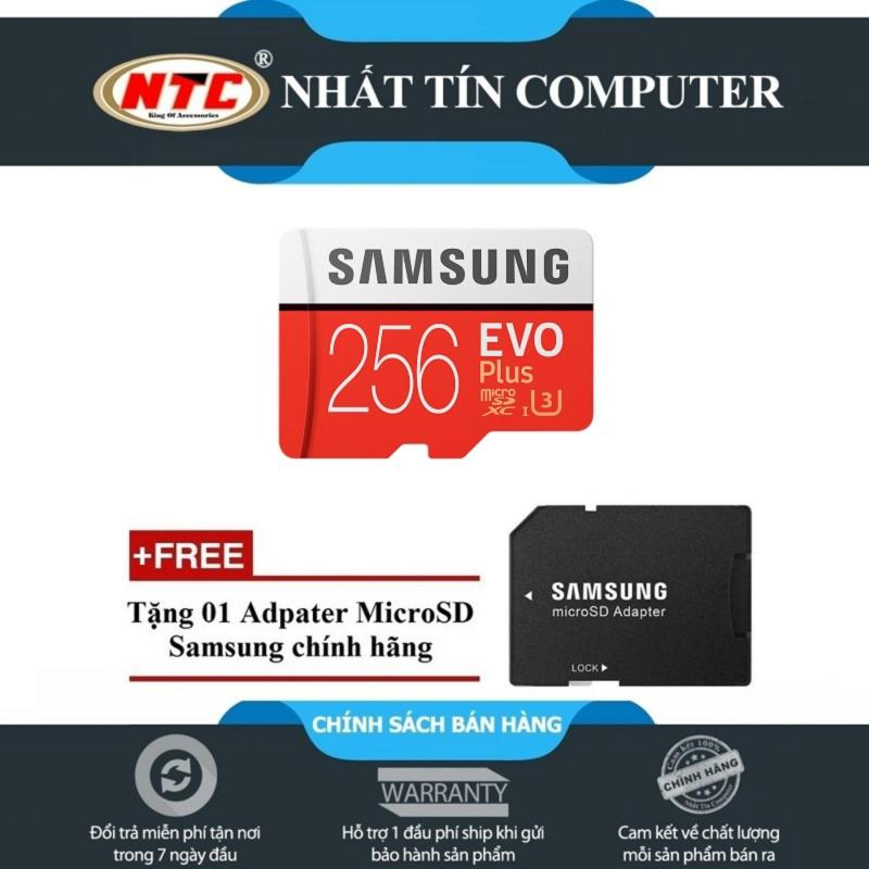 Thẻ nhớ MicroSDXC Samsung Evo Plus 256GB UHS-I U3 95MB/s - Model 2017 (Đỏ) + Tặng MicroSD Adapter Samsung