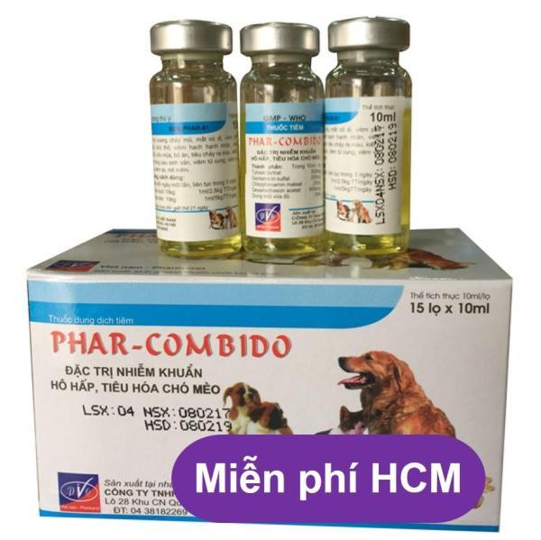 HCM- Phar-Combiido (Combo 10 lọ mỗi lọ 5ml)  Th uốc chích kiết lỵ chó mèo, chó nôn mửa bỏ ăn trên chó kháng sinh chó dạng tiêm