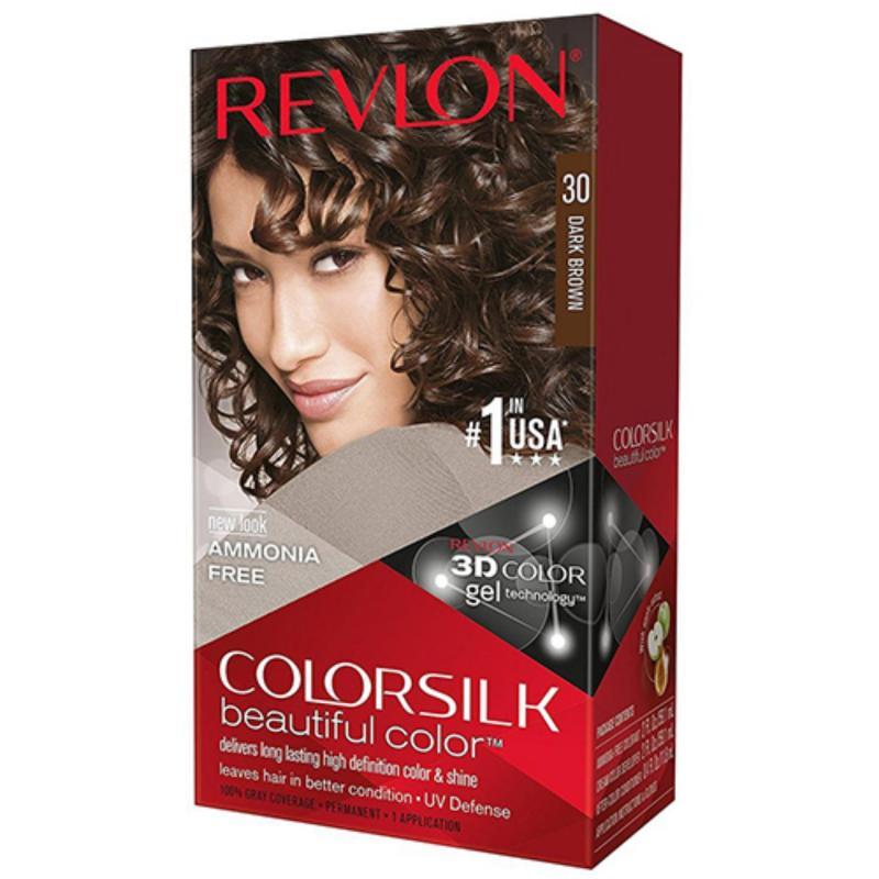Thuốc nhuộm tóc Revlon No 1 in the USA ColorSilk 3D # 30 Nâu Sậm + 01 nón trùm tóc nhập khẩu