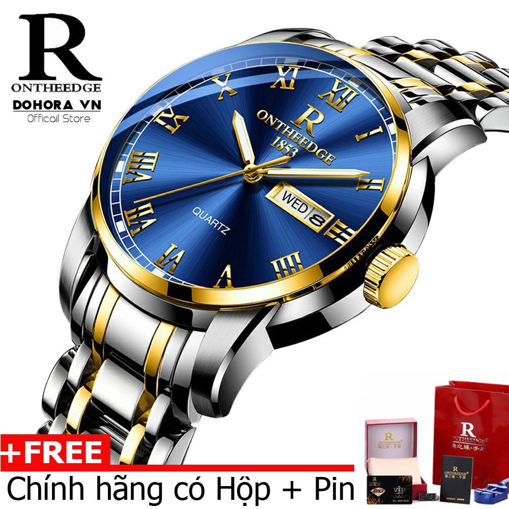 Đồng hồ nam cao cấp Ontheedge R-13 dây thép đúc đặc không gỉ lịch thứ ngày vạn niên(Có bảo hành)