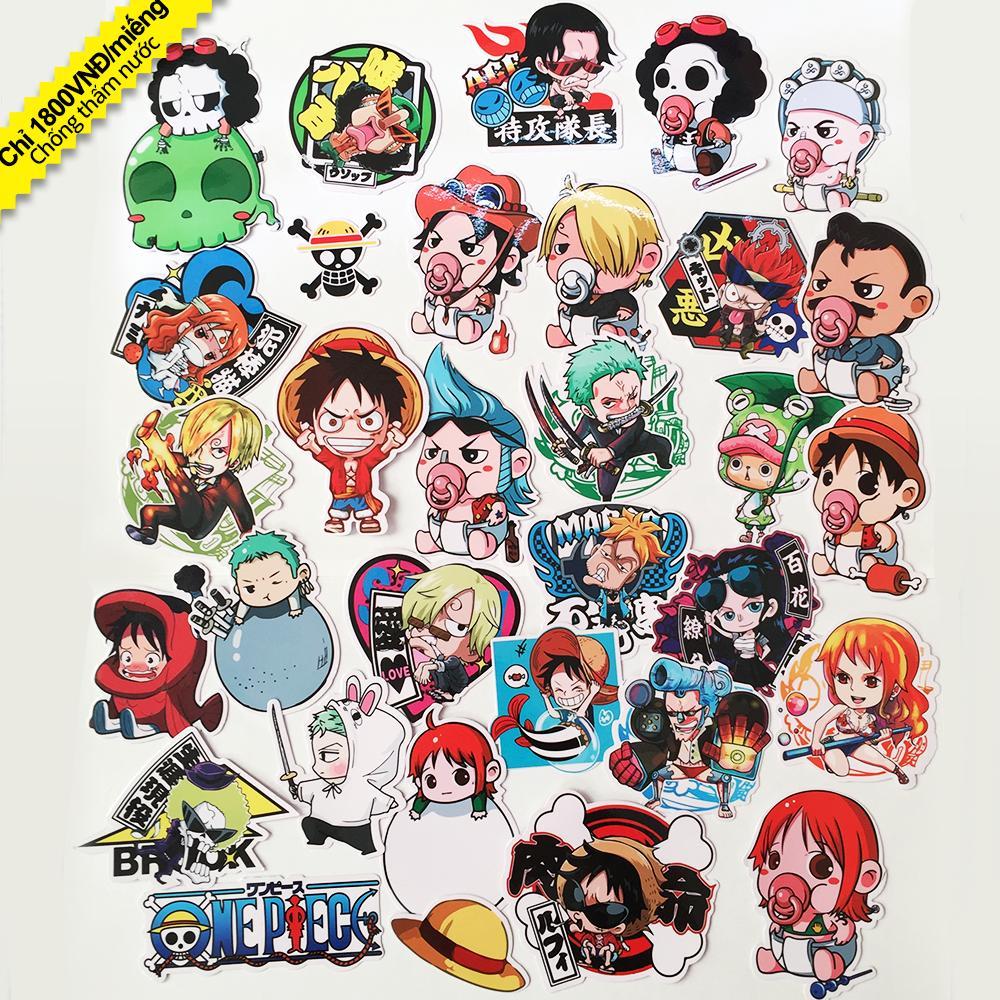 Bảng giá Bộ 30 Sticker One Piece Chibi Hoạt Hình - Miếng Dán Hoạt Hình One Piece Phong Vũ
