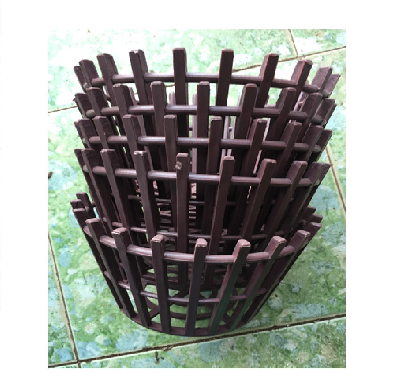 Combo 10 chậu nhựa giả gỗ phi 25 cm