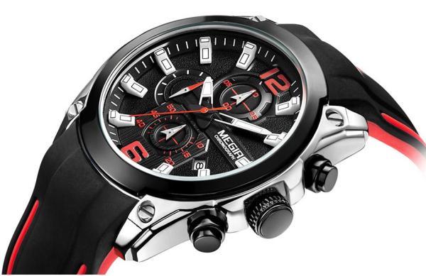 Đồng hồ nam MEGIR 2063 chạy full kim mặt kính Sapphire chống xước dây Silicon ( M 2 màu)