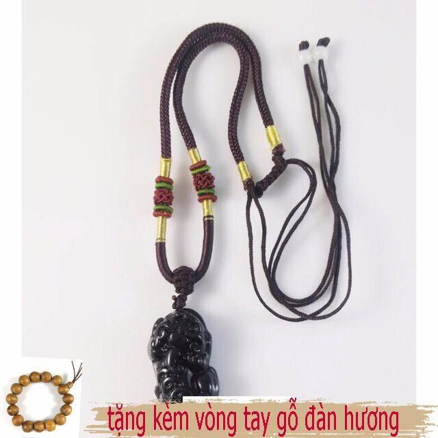 vòng cổ mặt tỳ hưu đen + tặng vòng gỗ đàn hương