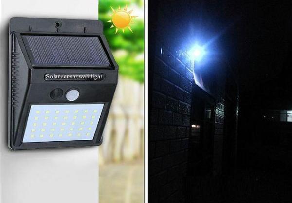 Đèn năng lượng mặt trời cảm biến hồng ngoại Solar 40LED pin sạc 1200Mah 8W chống nước độ bền cao (Đen)