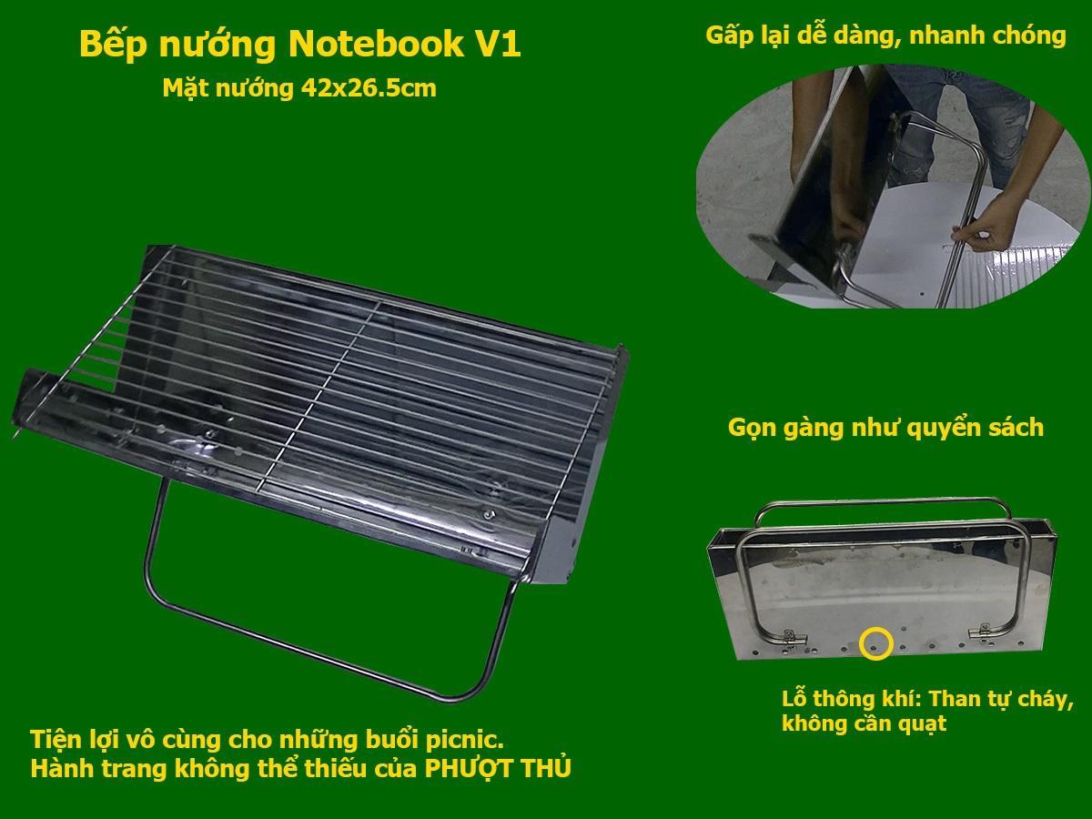 Bếp nướng than hoa MekongTech X1: Gập gọn như quyển sách, bếp nướng ngoài trời, chất liệu Inox(Mặt nướng rộng 42x26.5cm) an toàn sức khỏe, tiết kiệm than hạn chế tối đa khói dùng để nướng ngoài trời dã ngoại