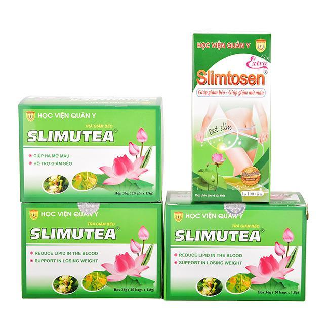 Liệu trình giảm béo Slimtosen Extra và 3 Trà Slimutea (Chính hãng Học Viện Quân Y)