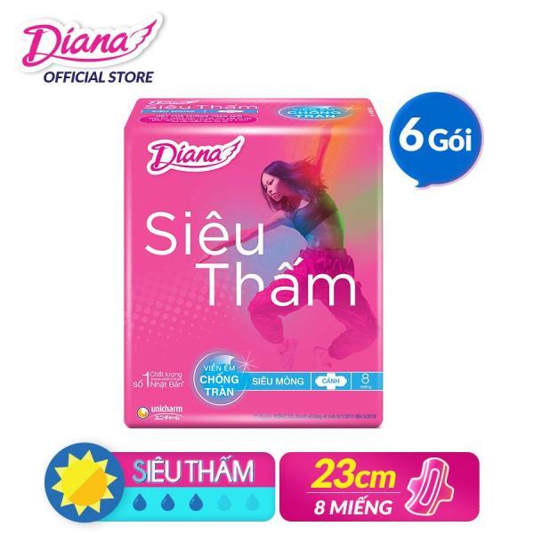 Bộ 6 gói Băng vệ sinh Diana Siêu Thấm Siêu Mỏng Cánh (8 miếng)