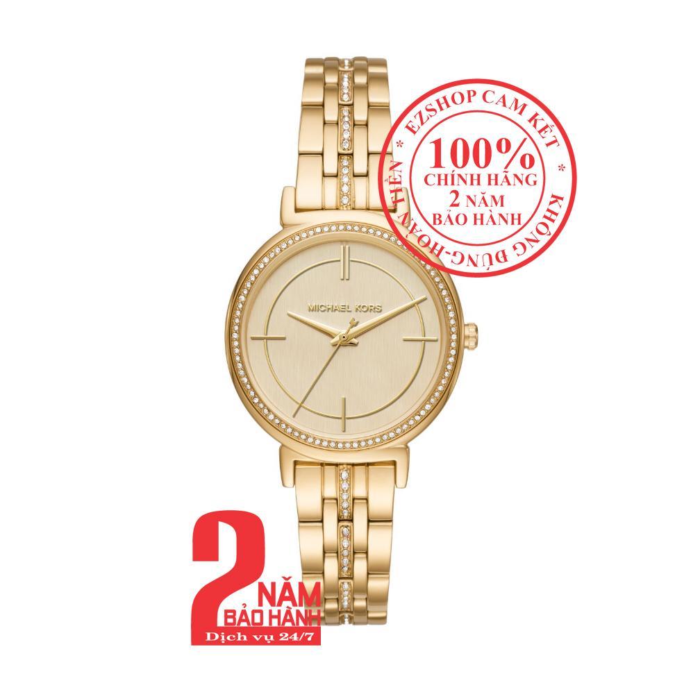 Nơi bán Đồng hồ nữ Michael Kors MK3681, Vỏ, mặt và dây màu Vàng (Gold), mặt đồng hồ khảm trai, viền đá pha lê Swarovski, size 33mm