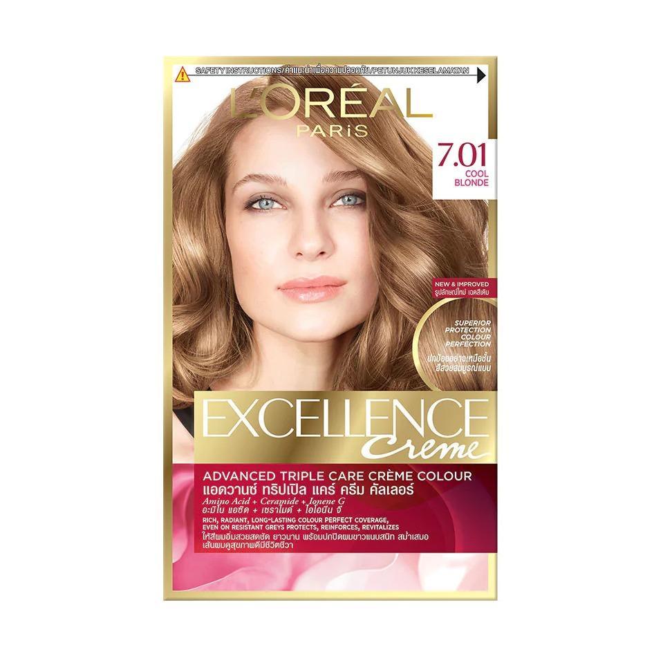 Thuốc nhuộm tóc Loreal Paris Excellence Creme #7.01 Cool Blonde Vàng sáng năng động - Tặng nón trùm tóc