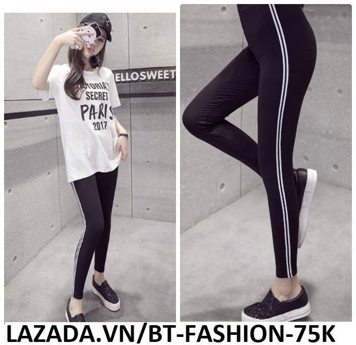 Hình ảnh Quần Dài Nữ Thun Ôm Legging Thể Thao Thời Trang Hàn Quốc - BT Fashion (QTT01A-Viền 2S)