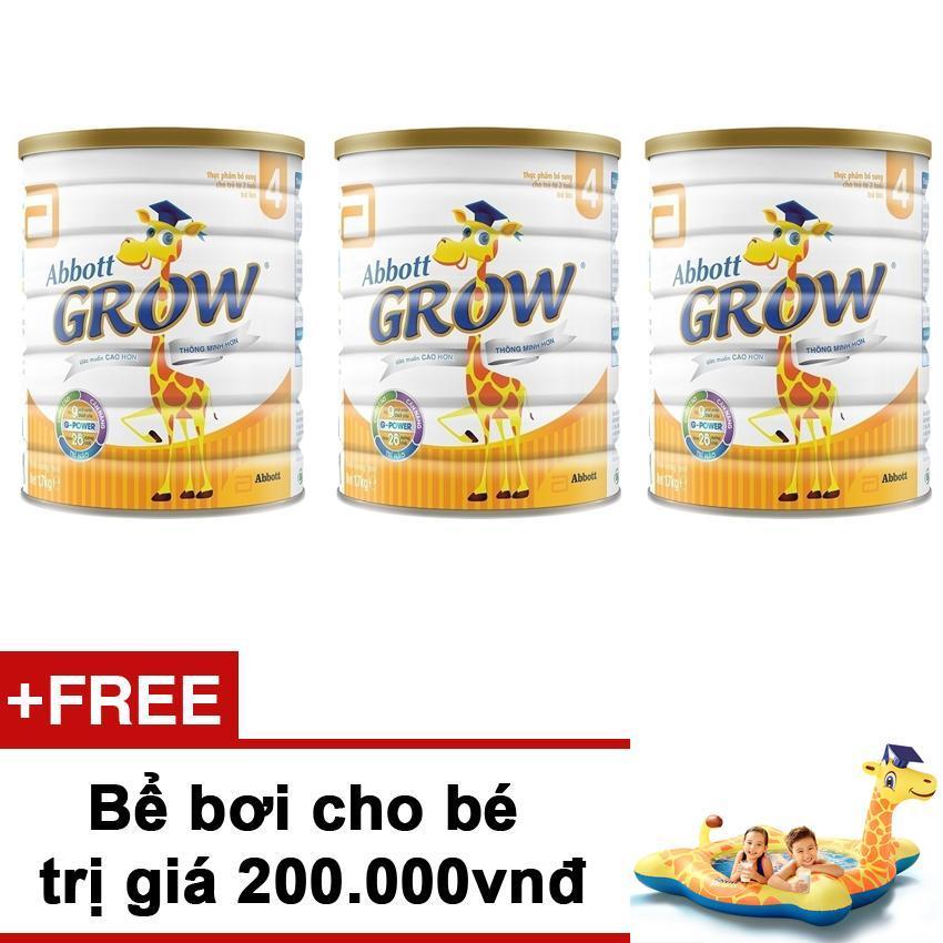 Bộ 3 lon sữa bột Abbott Grow 4 G-Power Hương Vani 900g + Tặng Bể bơi cho bé trị giá 200.000vnđ