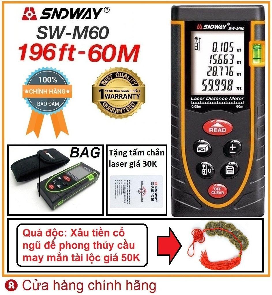 Thước đo bằng tia laser SNDWAY SW-M60 phạm vi đo 60m