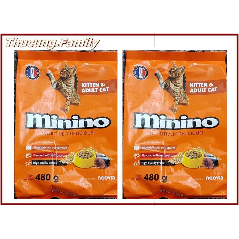 Combo 2 túi thức ăn hạt cao cấp cho MÈO mọi lứa tuổi. MININO 480g. Sản Phẩm của PHÁP.