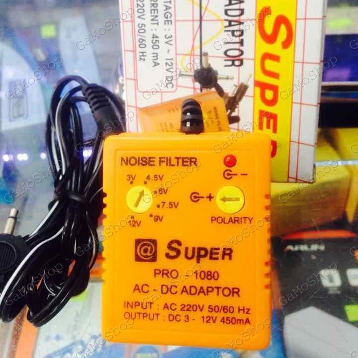 Nguồn Adapter đa năng SUPER 450mA 1080,6 đầu ra 3V 4.5V 6V 9V 12V 13.5V DC đảo cực được (Cam)