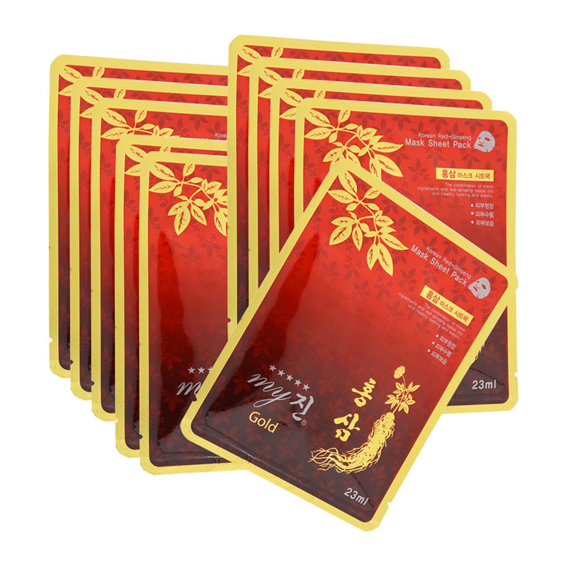 Bộ 10 miếng đắp mặt nạ MY JIN GOLD KOREA RED GINGSENG