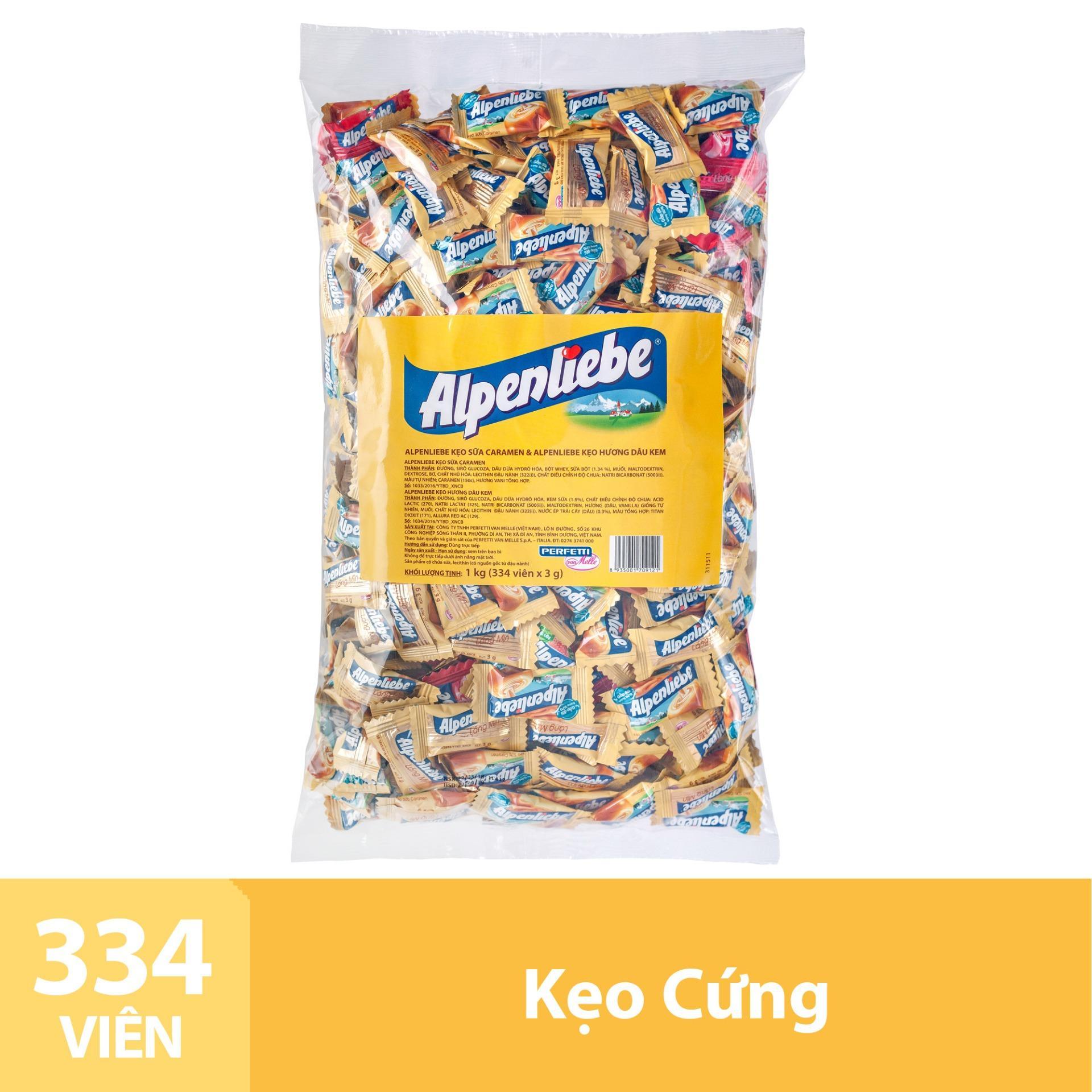 Kẹo Alpenliebe Hương Hỗn Hợp Dâu Kem & Caramen Gói 1Kg Nhật Bản