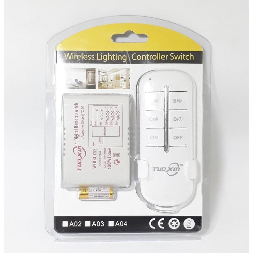 Bộ công tắc điều khiển từ xa 4 kênh 1000W, Remote phát sóng 50m Tuoxin TX04