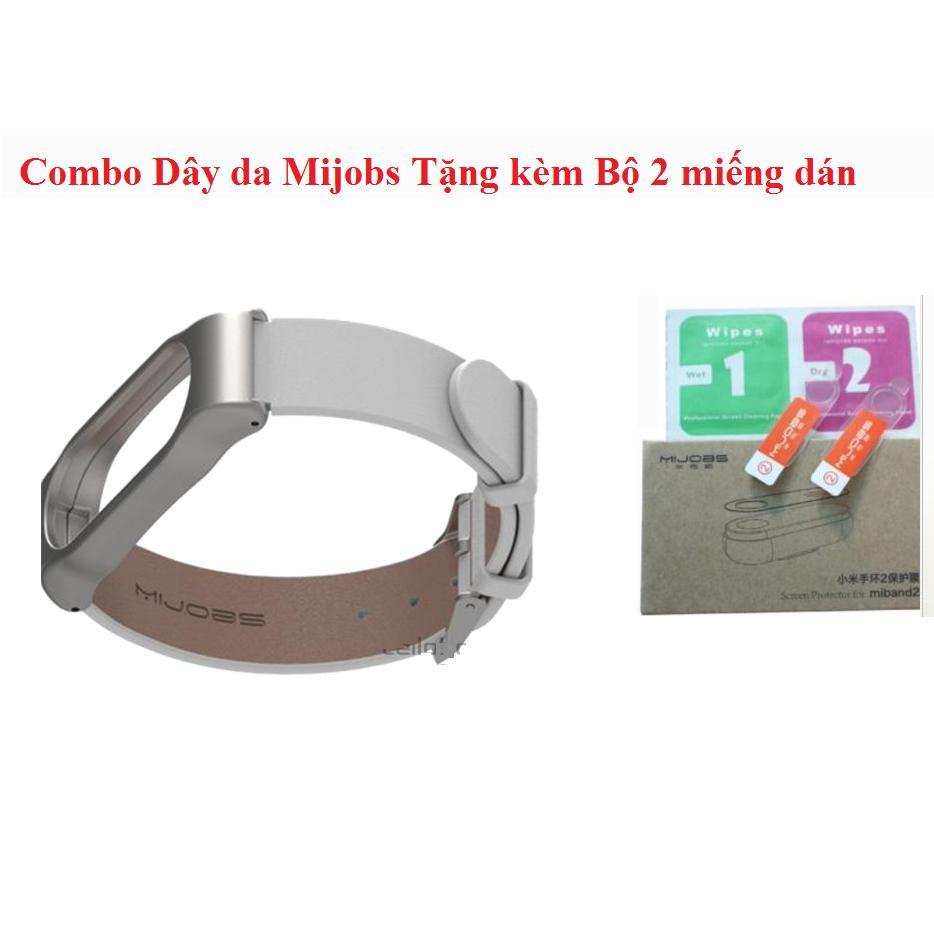 Hình ảnh Combo Dây đeo da Mijobs thay thế dành cho Xiaomi Miband 2 (Màu Trắng) Tặng Bộ 2 miếng dán